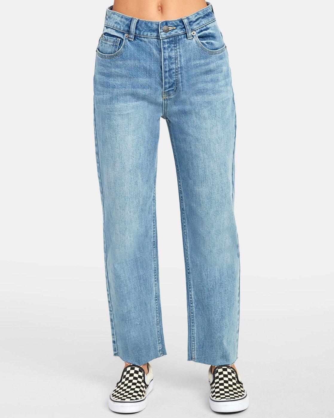 Vaqueros Pantalones Mujer Rvca Holli Vaqueros Tobilleros De Tiro Alto Light Blue Doclick Solutions